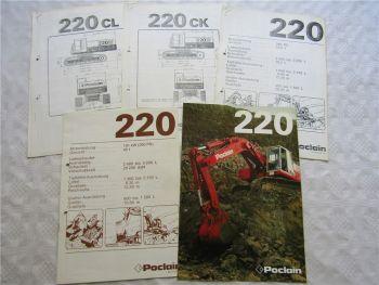 Prospekt Poclain 220 Hydraulikbagger und Datenblätter ca 1976