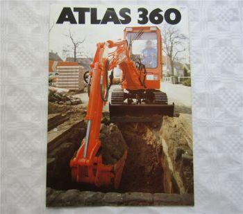 Prospekt Atlas 360 Minibagger 4/1987 mit technischen Daten