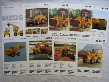 9 Prospekte Ahlmann Radlader AS AL  und AK 6 7 8 10 12 von 1988/89
