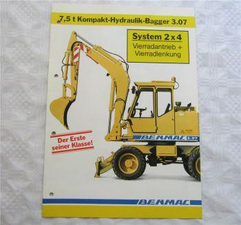 Prospekt Benmac Kompakt-Hydraulik-Bagger 3.07 System 2x4 mit 7,5t