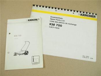 Kärcher KM700 Betriebsanleitung mit Ersatzteilliste 1995/96 Parts List Instructi