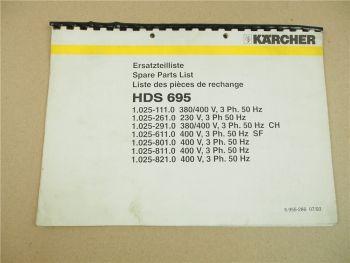 Kärcher HDS695 Ersatzteilliste Parts List Pieces de rechange 7/1993