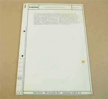 Kärcher HDS3000 Betriebsanleitung Bedienung Ersatzteilliste ca 1985