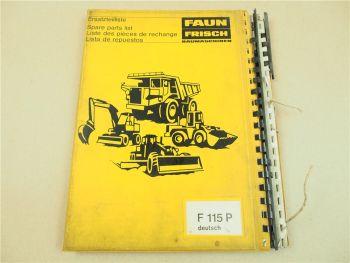 Faun F 115P Lader Ersatzteilkatalog Ersatzteilliste Spare Parts 1979