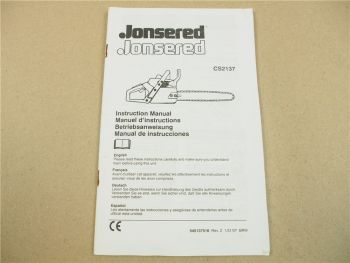 Jonsered CS2137 Instruction Manual Betriebsanleitung Manuel instructions 2007