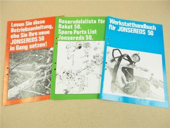 Jonsered 50 Bedienung Ersatzteilliste und Werkstatthandbuch Reparaturhandbuch