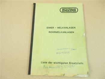 Westfalia Separator Ersatzteilliste Eimer-Melkanlagen und Rohrmelkanlagen