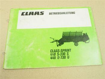 Claas Sprint 440U 330U 440S 330S Betriebsanleitung Bedienungsanleitung 1990