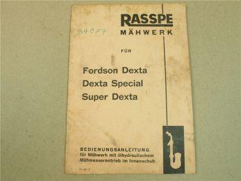Rasspe Mähwerk für Fordson Dexta Special Super Dexta Bedienungsanleitung