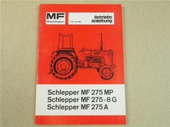 Original Massey Ferguson MF 275MP 275-8G 275A Betriebsanleitung 1977 Wartung
