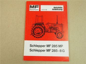 Original Massey Ferguson MF 285MP 285-8G Betriebsanleitung 1977 Wartungsplan