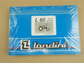 Original Landini L60 FP LP GTP GE Schlepper Ersatzteilliste 1994 Parts List