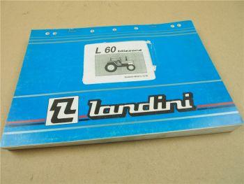 Landini L60 blizzard Schlepper Ersatzteilliste 1995 Pieces Rechange Ricambio