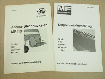 Massey Ferguson MF 487 Mähdrescher Anbau Betriebsanleitung MF 116 Langschneidvor