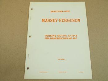 Original Massey Ferguson MF 487 Ersatzteilliste 1970  für Perkins Motor A4.248