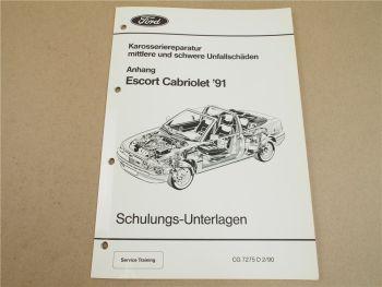 Ford Escort Cabriolet 1991 Reparatur Karosserie nach Unfallschaden Schulung