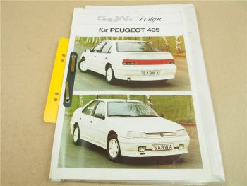 Prospekte Peugeot 405 Sabwa Design Umbau Tuning + Preise 1987/1988