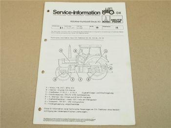 Deutz DX80 DX86 DX92 Traktoren A Technische Information Kundendienst 1982