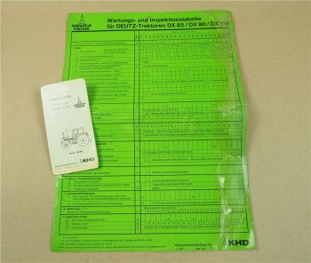 Deutz DX85 DX90 DX110 Einstellwerte und Wartungs- Inspektionstabelle 1978/79