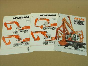 3 Prospekte Atlas RadBagger 1604 1804 und Arbeitswerkzeuge von 1994/95