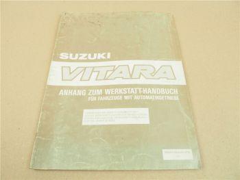 Suzuki Vitara 4WD Allrad mit Automatikgetriebe Werkstatthandbuch Zusatz 1989