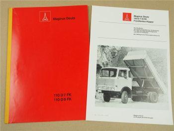 Magirus Deutz 110D7FK 110D8FK Fronlenker 1969 Technische Beschreibung Prospekt