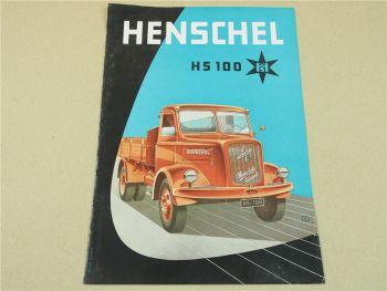Prospekt Henschel & Sohn Kassel HS100 Lastwagen von 1957