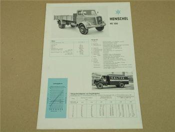 Prospekt Henschel & Sohn Kassel HS100 K AK Lastwagen von 3/1959