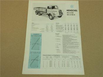 Prospekt Henschel & SohnHS3-125 A LKW Kipper von 1959