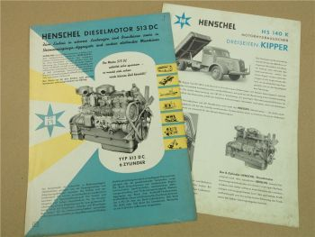 2 Prospekte Henschel & Sohn HS140K LKW Kipper und Motor 513DC 1953/55