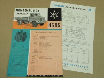 2 Prospekte Henschel & Sohn HS95K HS95 Lastwagen LKW 5,2t von 1958