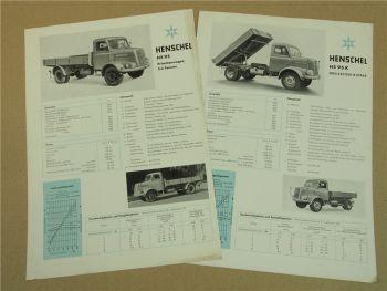 2 Prospekte Henschel & Sohn HS95K 3-Seiten-Kipper HS95 Pritsche von 1959