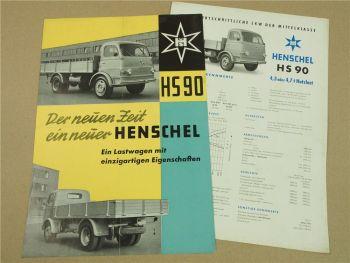 2 Prospekte Henschel & Sohn HS90 LKW der Mittelklasse 1957