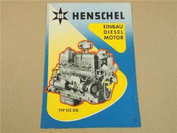 Prospekt Henschel & Sohn GmbH Kassel Einbau - Dieselmotor 512DG 9/1955