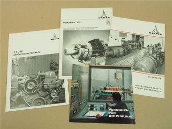4 Prospekte Deutz DrehstromAggregate Gasturbine Container-Verkehr 60er Jahre