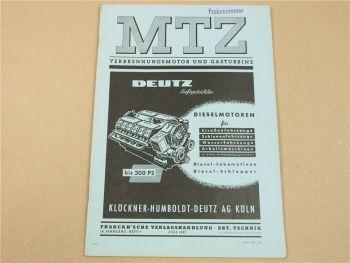 Zeitschrift MTZ Deutz Dieselmotoren für Straßenfahrzeuge Schienenfahrzeuge 1957