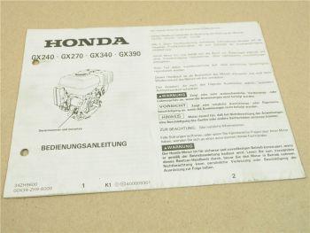 Honda GX240 GX270 GX340 GX390 Bedienungsanleitung Betrieb Wartung ca 1993