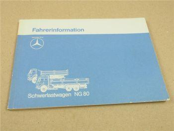 Mercedes Benz NG80 LKW Schwerlastwagen Fahrerinformation ca 1985