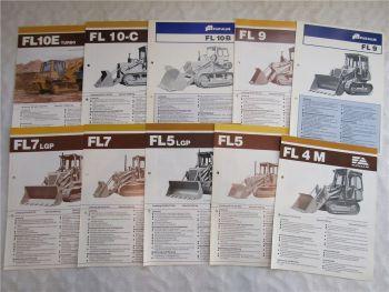 10 Prospekte Fiat Allis FL4 FL5 FL7 FL9 FL10 Raupen Dozer 70/80er Jahre