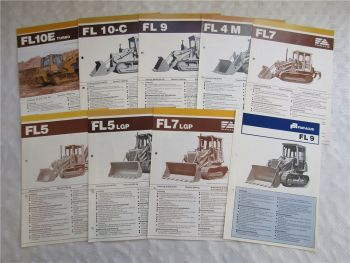 9 Prospekte Fiat Allis FL4 FL5 FL7 FL9 FL10 Raupen Dozer 70/80er Jahre