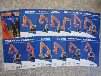 13 Prospekte Fiat Kobelko FK Bagger E 145W 200SR 80 175W EX 255 455 2002/2003
