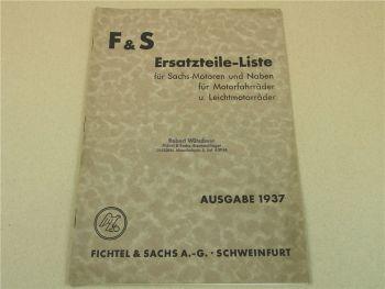 F&S Sachs Ersatzteilliste Motoren Naben Motorfahrräder Leichtmotorräder 1937
