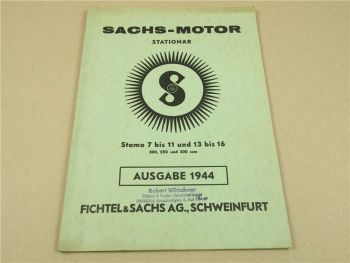 F&S Sachs Stamo 7 10 13 8 11 14 9 16 15 Stationär Motoren Ersatzteilliste 1944