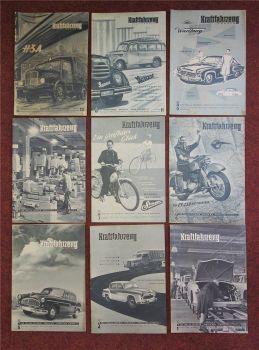 9x KFT Kraftfahrzeug Technik SR1 H3A Wartburg Framo V901/2Z Dauphine DDR 1956