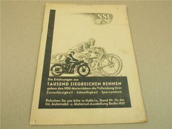Zeitschrift NSU Nr. 9 1937 Das Motorrad Test Tornax K20