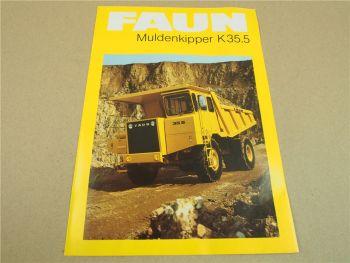Prospekt FAUN K35.5 Muldenkipper von 1982
