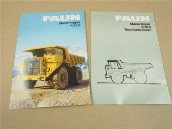 2 Prospekte Datenblätter FAUN K85.8 Muldenkipper von 1983