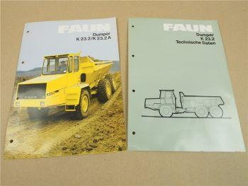 2 Prospekte Technische Daten FAUN K23.2 A Dumper von 1986