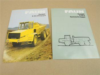 2 Prospekte Technische Daten FAUN K23.2 A Dumper 1986