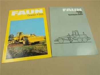 2 Prospekte Technische Daten FAUN F205 Grader um 1982
